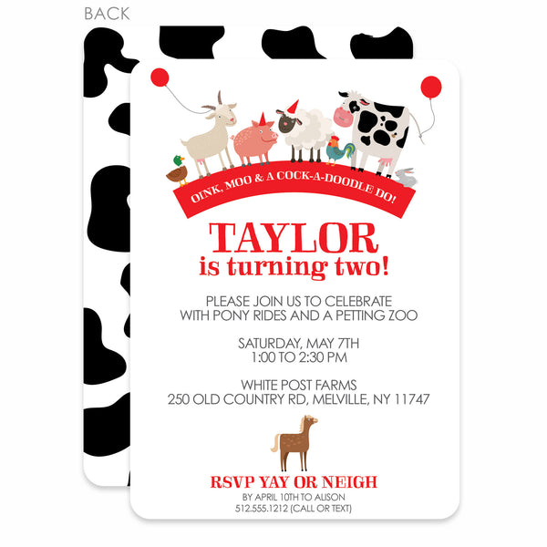 Party Animals Farm Birthday Party Invitation | Swanky Press
