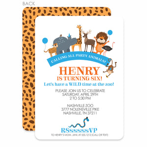 Party Animals Zoo Birthday Invitation | Swanky Press | Blue