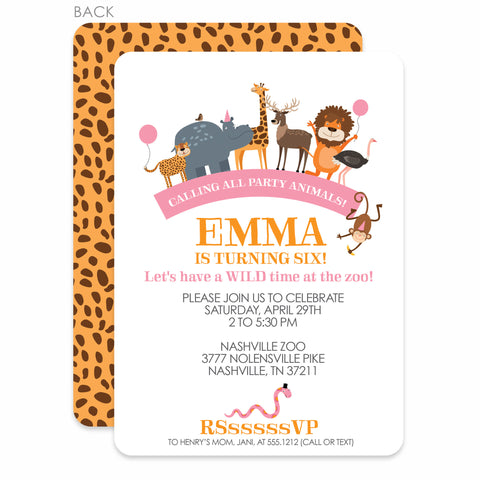 Party Animals Zoo Birthday Invitation | Swanky Press | Pink