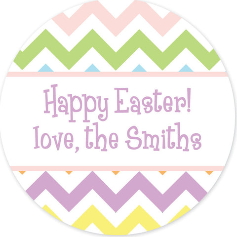 Pastel chevron Easter round sticker