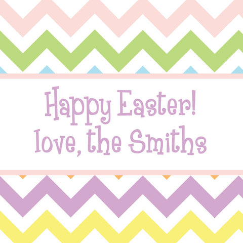 Pastel chevron Easter square gift tags