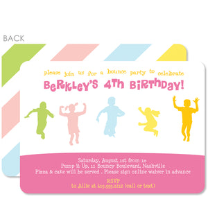 Pastel rainbow kids bounce birthday invitation, PIPSY.COM