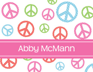 peace signs, pink, multicolored, personalized