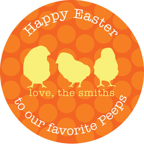 Favorite peeps round Easter sticker with orange polka dots and yellow chicks