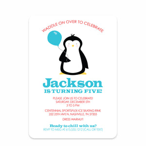 Blue & Red Penguin Party Birthday Invitation | Swanky Press | Front