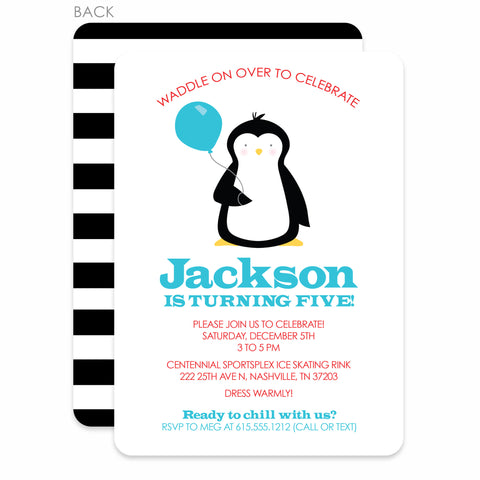 Penguin Party Birthday Invitation | Swanky Press | Blue & Red