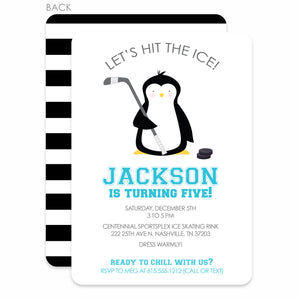 Penguin Hockey & Ice Skating Party Birthday Invitation | Swanky Press | Blue