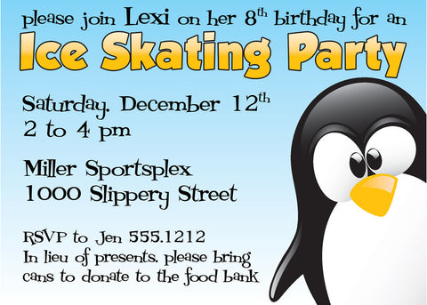 penguin ice skating holiday winter party invitation