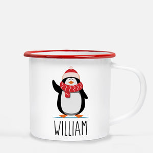 Christmas Camp Mug, Penguin with scarf, Personalized, Pipsy.com, red lip