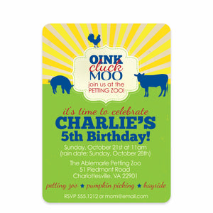 Petting Zoo Birthday Party Invitation | Swanky Press | Front