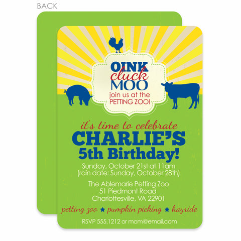 Petting Zoo Birthday Party Invitation | Swanky Press | Green