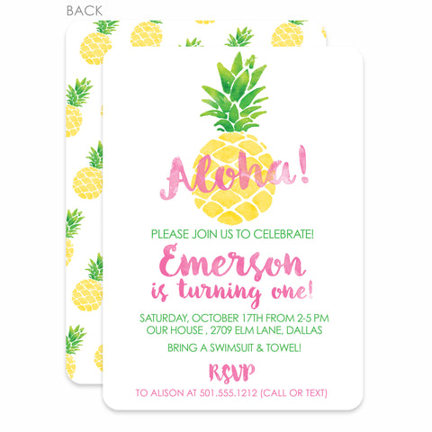 Pineapple Party Birthday Invitation | Swanky Press | Pink