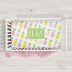 Pineapple Personalized Crib Sheet