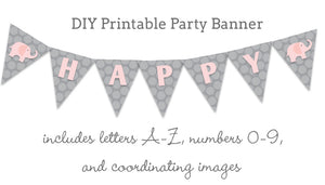 Pink and grey elephant printable party banner
