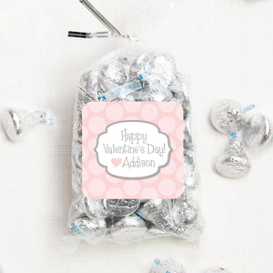 "Pink And Gray Dots Valentine's Day Stickers | 2.5"" Square Valentine's Day Sticker for candy bag 