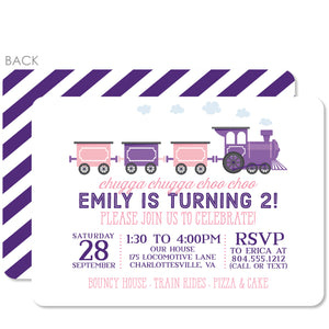 Train birthday party invitation, pink and purple | Swanky Press
