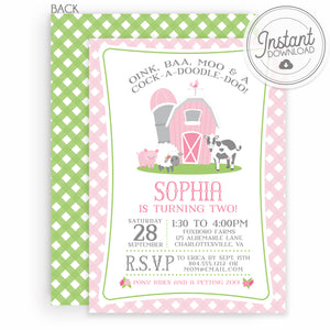 Pink Barn Farm Birthday Invitation | Instant Download | Editable File | Templett Invitation | PIPSY.COM