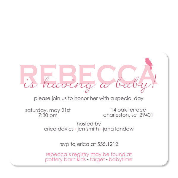 Bird Baby Shower Invitation, Pink (Printed)
