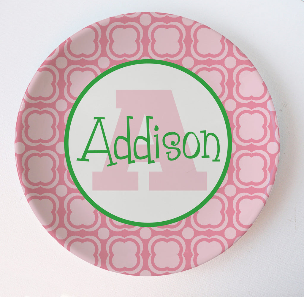 pink and green bubble gum preppy melamine personalized monogram plate