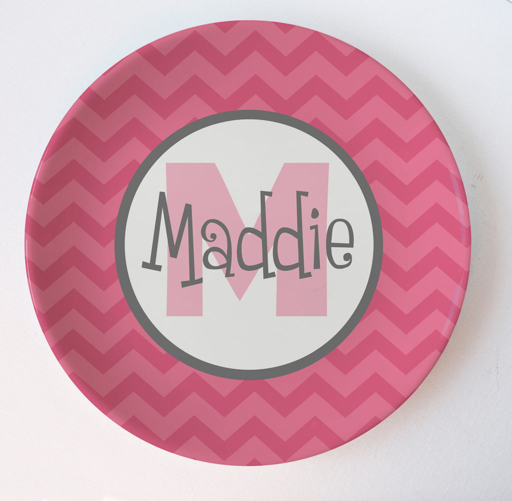 pink honeysuckle personalized monogram chevron melamine plate