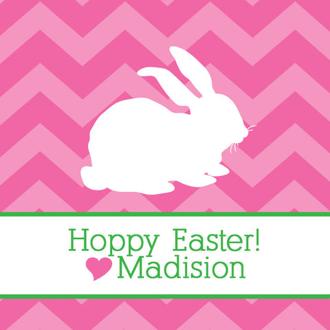Easter tagged cardstock favor tags pipsy pink chevron bunny gift tag negle Image collections