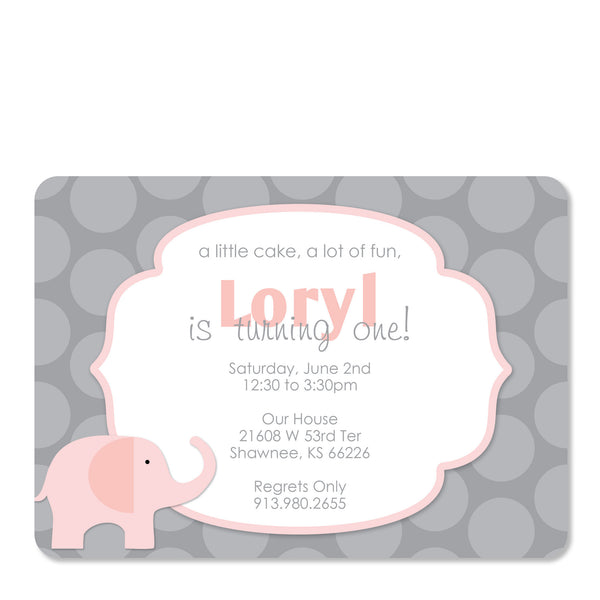 Pink Elephant Birthday Party DIY invitation | Swanky Press | Front