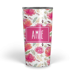 Pink Floral Double Walled Stainless Tumbler (tall)