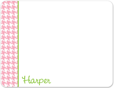 pink and green houndstooth flat notecards