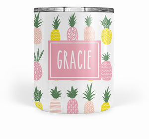 Pink Pineapple double-walled stainless steel tumbler short, PIPSY.COM