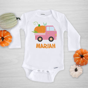 Pink Pumpkin Truck Halloween Onesie, long sleeved, Pipsy.com