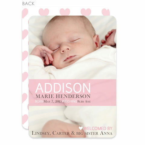 Sweet Heart Birth Announcement | Swanky Press | Pink