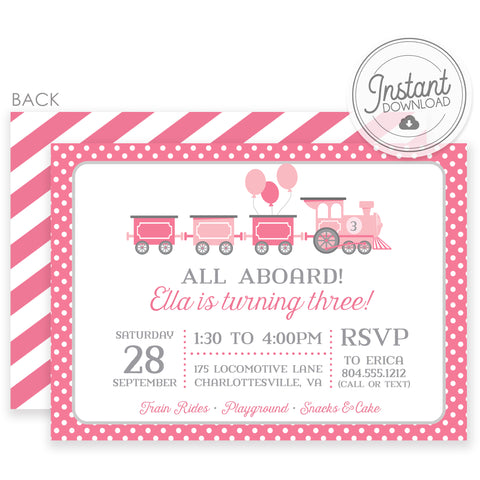 Pink Train DIY Invitation | Girl Birthday | Templett Invitation | PIPSY.COM