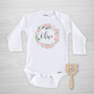 Pink Floral Wreath Personalized Gerber Onesie, long sleeved