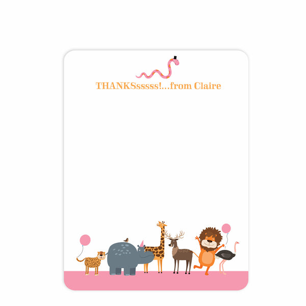 Zoo Thank you Notecards (Pink) | Swanky Press, front view