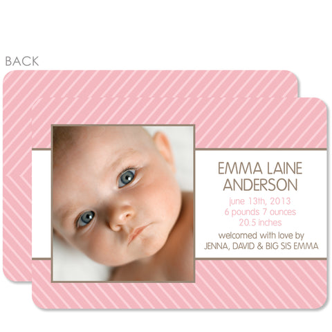 Pinstripes Birth Announcement Pink