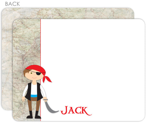 Pirate map 2 sided notecard thank you note