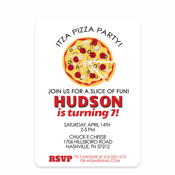 Red Pizza Party Birthday Invitation | Swanky Press | Front