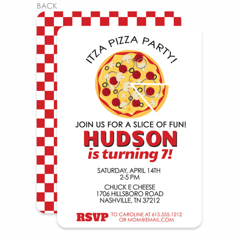 Pizza Party Birthday Invitation | Swanky Press | Red