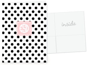 Polka dot folder with monogram-Swanky Press