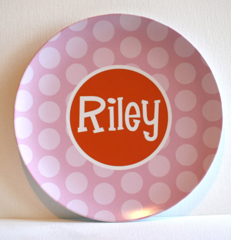 big pink dots personalized melamine plate