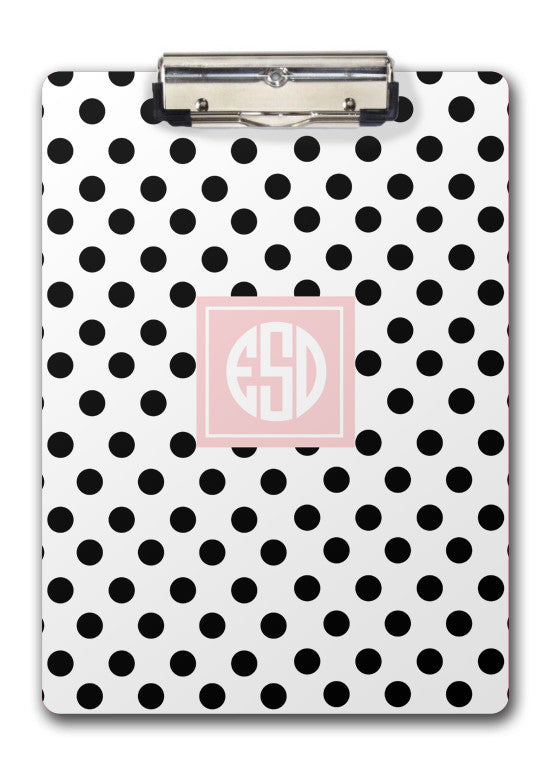 Polka dot clipboard with monogram-Swanky Press