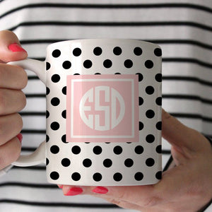 Polka Dot Monogram Coffee Mug