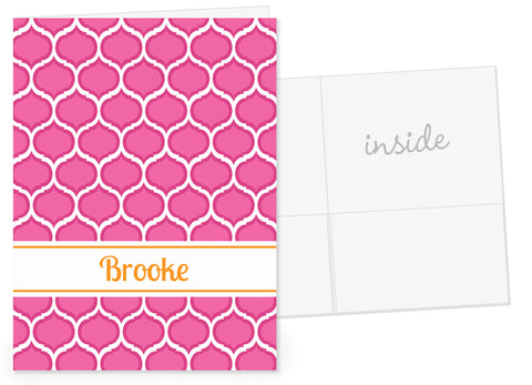 Pop of pink with orange name pocket folder