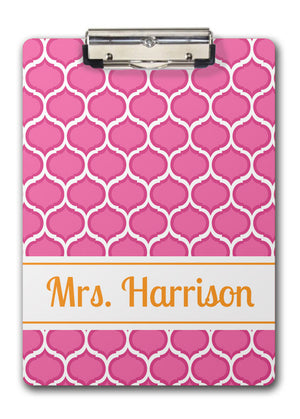 pop of pink and orange personalized clipboard teacher gift