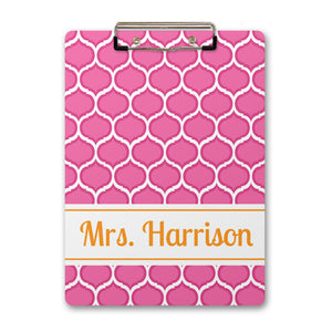 Pop of pink with orange name clipboard