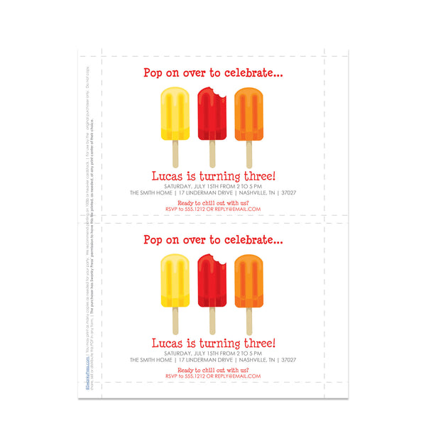 Popsicle Party DIY Printable Invitations, Red