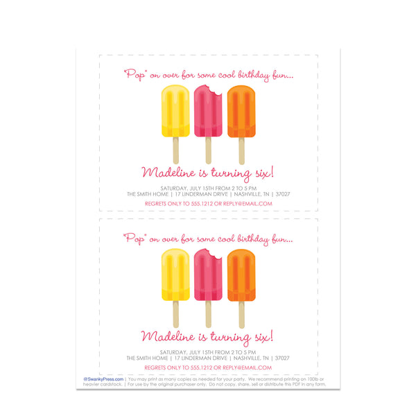 Popsicle Party Instant Download Birthday Invitation | Swanky Press | Pink Printout Demo