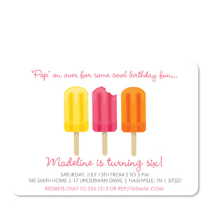 Pink Popsicle Party Invitation | Swanky Press | Front