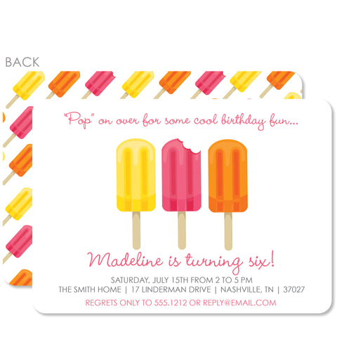 Popsicle Party Invitation | Swanky Press | Pink, Orange & Yellow