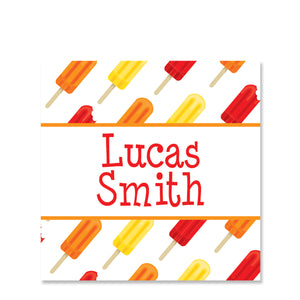 Red Popsicle Party Favor Sticker | Swanky Press | Square